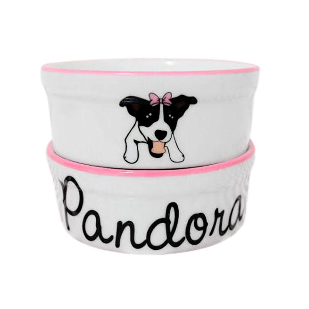 Pote para Cachorro - Comedouro e Bebedouro de Porcelana Personalizado SRD Rosa