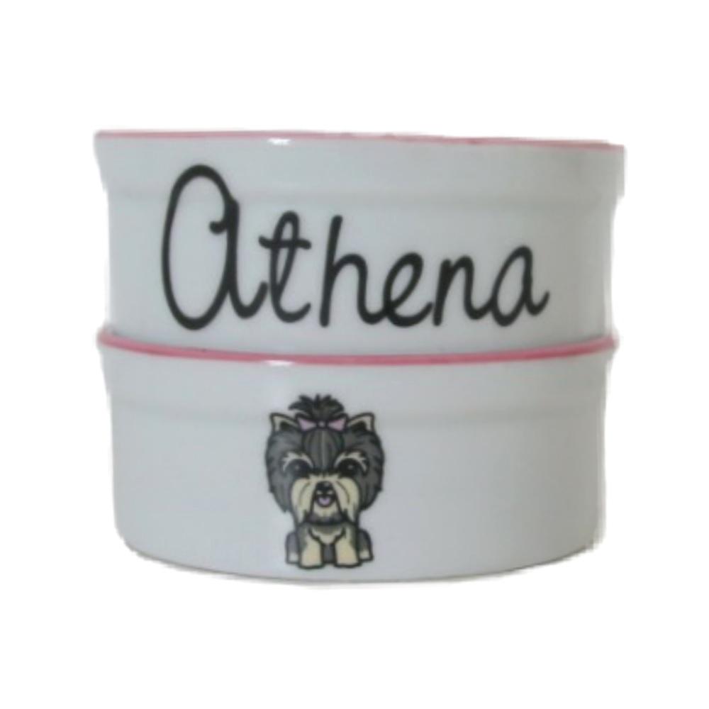 Pote para Cachorro - Comedouro e Bebedouro de Porcelana Personalizado Yorkshire Rosa