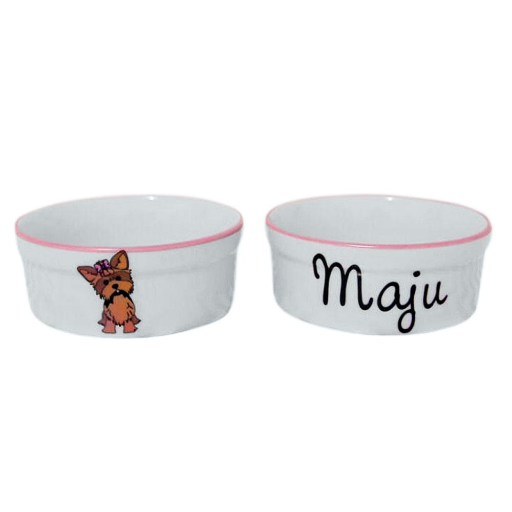 Pote para Cachorro - Comedouro e Bebedouro de Porcelana Personalizado York Rosa