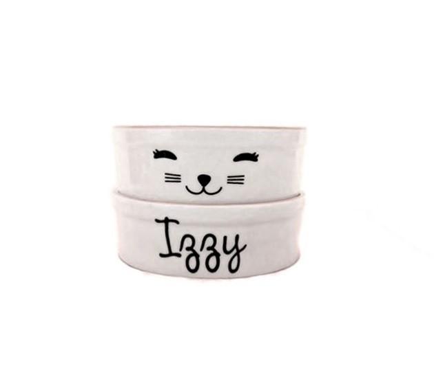 Pote para Cachorro e Gato - Comedouro e Bebedouro de Porcelana Personalizado Cat