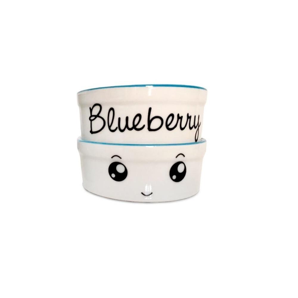 Pote para Cachorro e Gato - Comedouro e Bebedouro de Porcelana Personalizado Olhinhos Azul