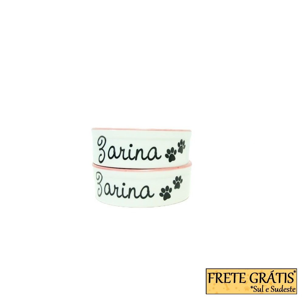 Comedouro Porcelana para Cachorro e Gato Personalizado Patinhas FRETE GRÁTIS*
