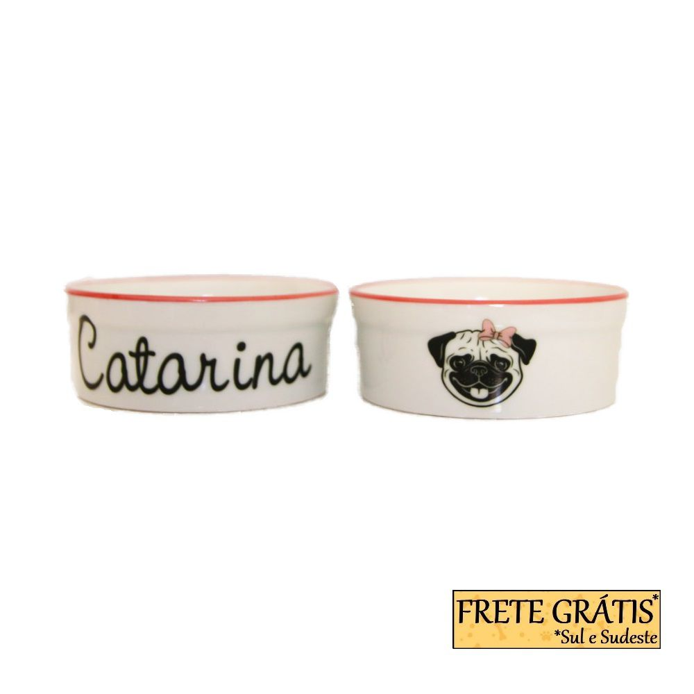 Comedouro Porcelana para Cachorro e Gato Personalizado Pug FRETE GRÁTIS*