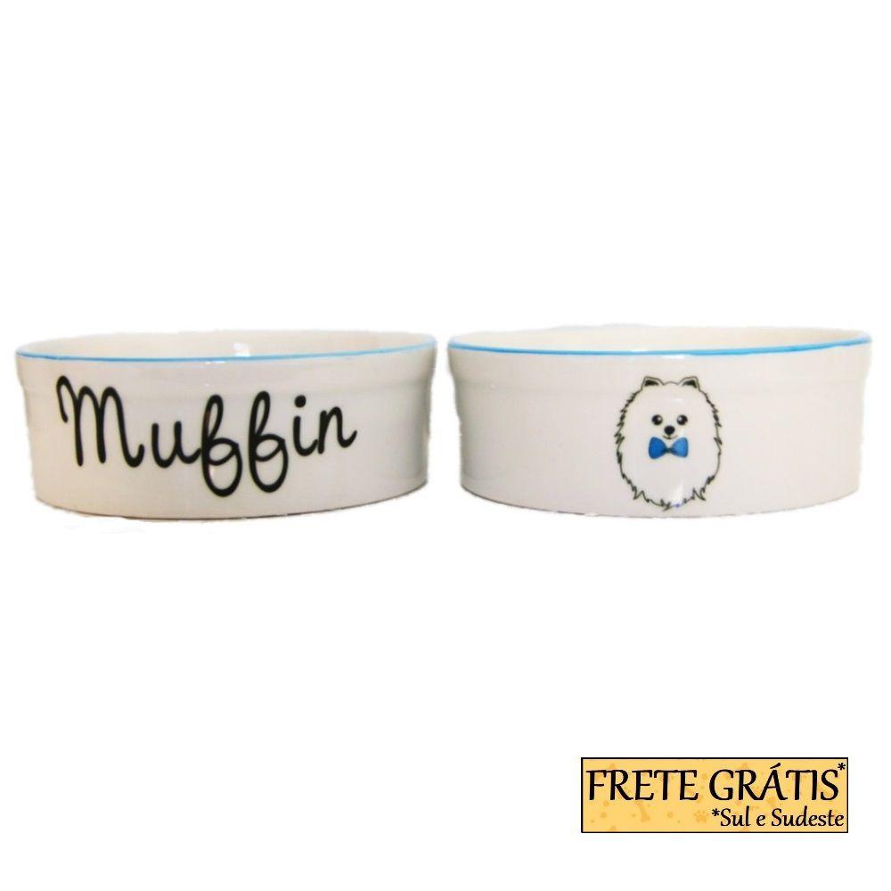 Comedouro Porcelana para Cachorro e Gato Personalizado Spitz FRETE GRÁTIS*