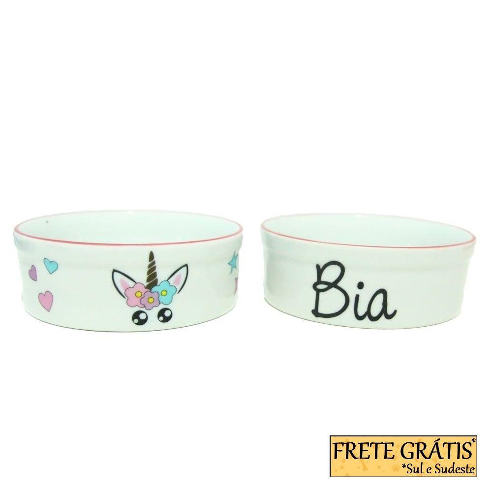 Comedouro Porcelana para Cachorro e Gato Personalizado Unicórnio FRETE GRÁTIS*