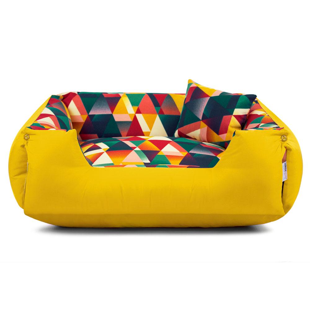 PRONTA ENTREGA! Cama de Cachorro Impermeável Lola - M - Geometric Amarelo + BRINDE