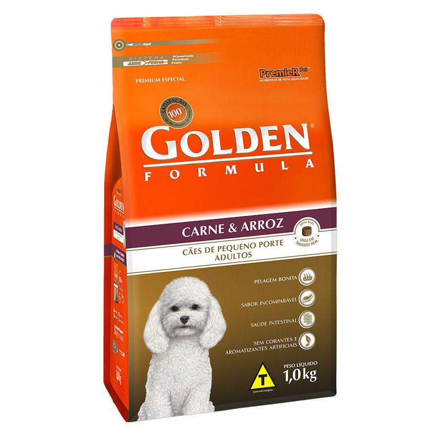 Ração Golden Fórmula Mini Bits para Cães de Pequeno Porte Adultos - Sabor Carne e Arroz