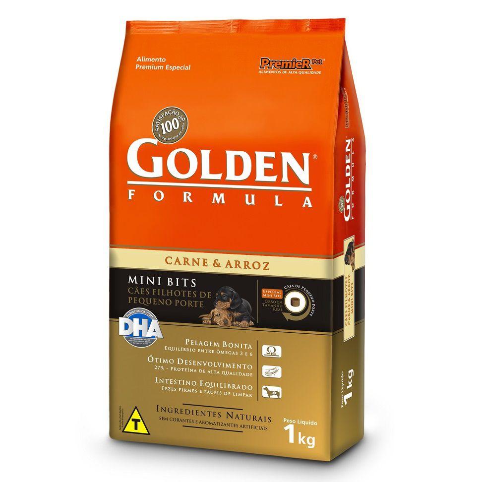 Ração Golden Fórmula Mini Bits para Cães de Pequeno Porte Filhotes - Sabor Carne e Arroz