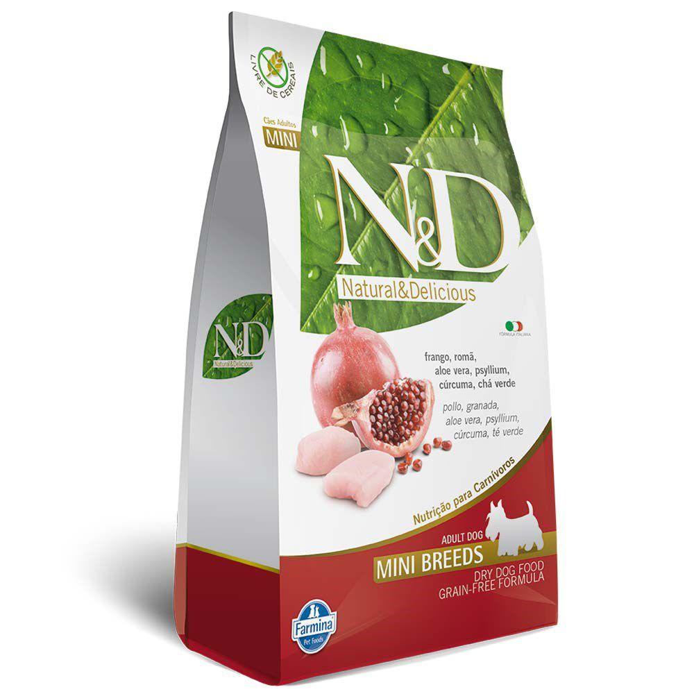 Ração Farmina N&D Grain Free para Cães Adultos de Raças Pequenas Sabor Frango e Romã - 2,5Kg