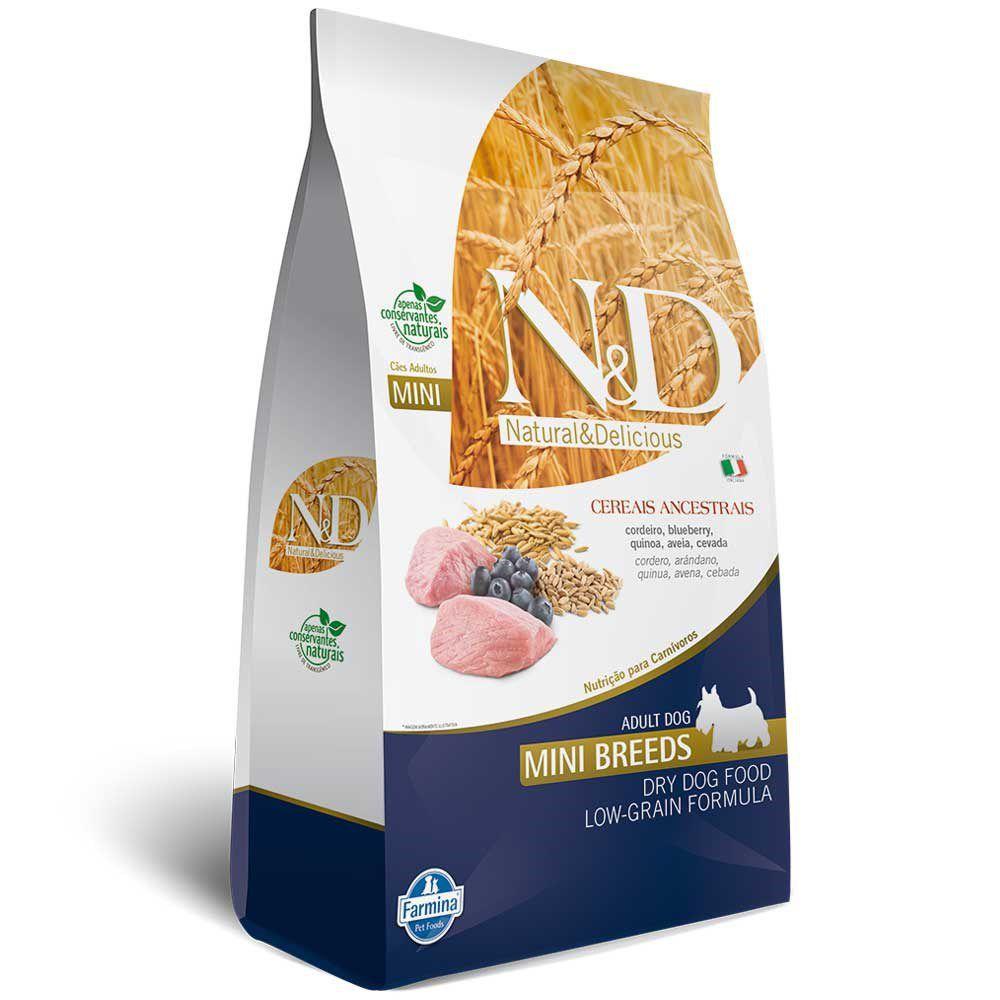 Ração Farmina N&D Low Grain para Cães Adultos Raças Mini Sabor Cordeiro e Blueberry - 2,5kg