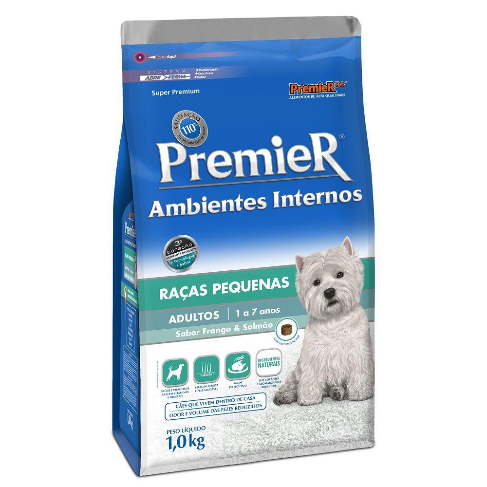Ração Premier Cães Filhotes de Raças Pequenas Ambientes Internos Sabor Frango e Salmão - 1Kg