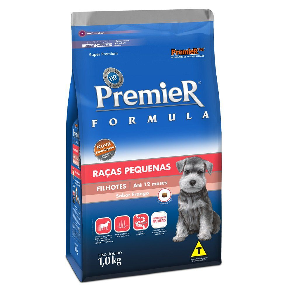 Ração Premier Fórmula para Cães Filhotes de Raças Pequenas Sabor Frango - 1Kg