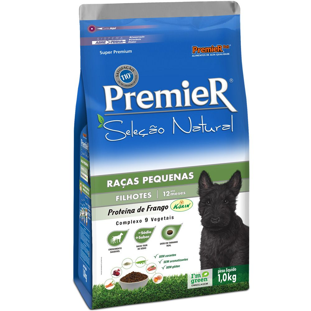 Ração Premier Seleção Natural para Cães Filhotes Raças Pequenas Proteina de Frango - 1Kg