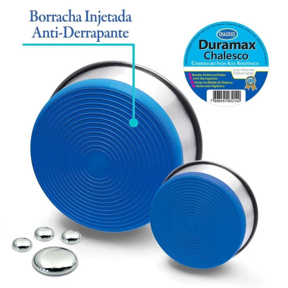 Tigela Comedouro para Cachorro Inox Duramax com Silicone 875ml