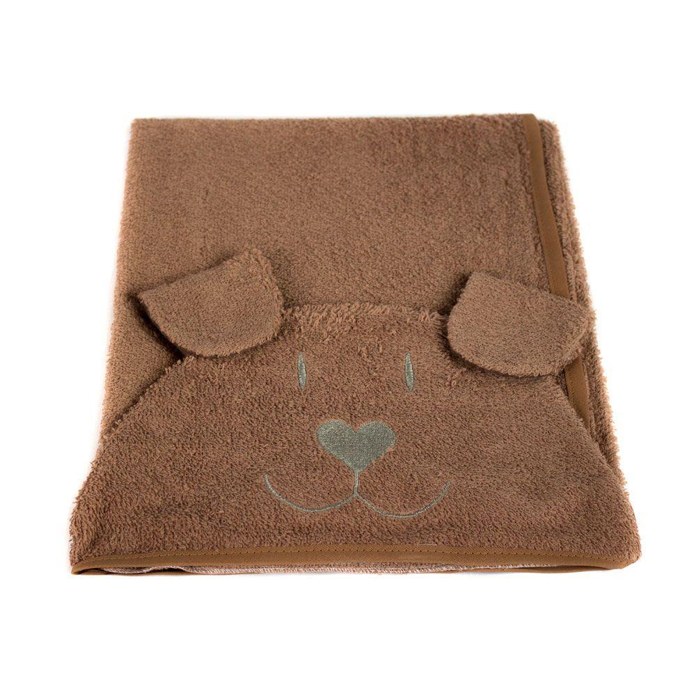 Toalha de Banho Pet c/ Capuz Cachorrinho Cinza **Última Peça**