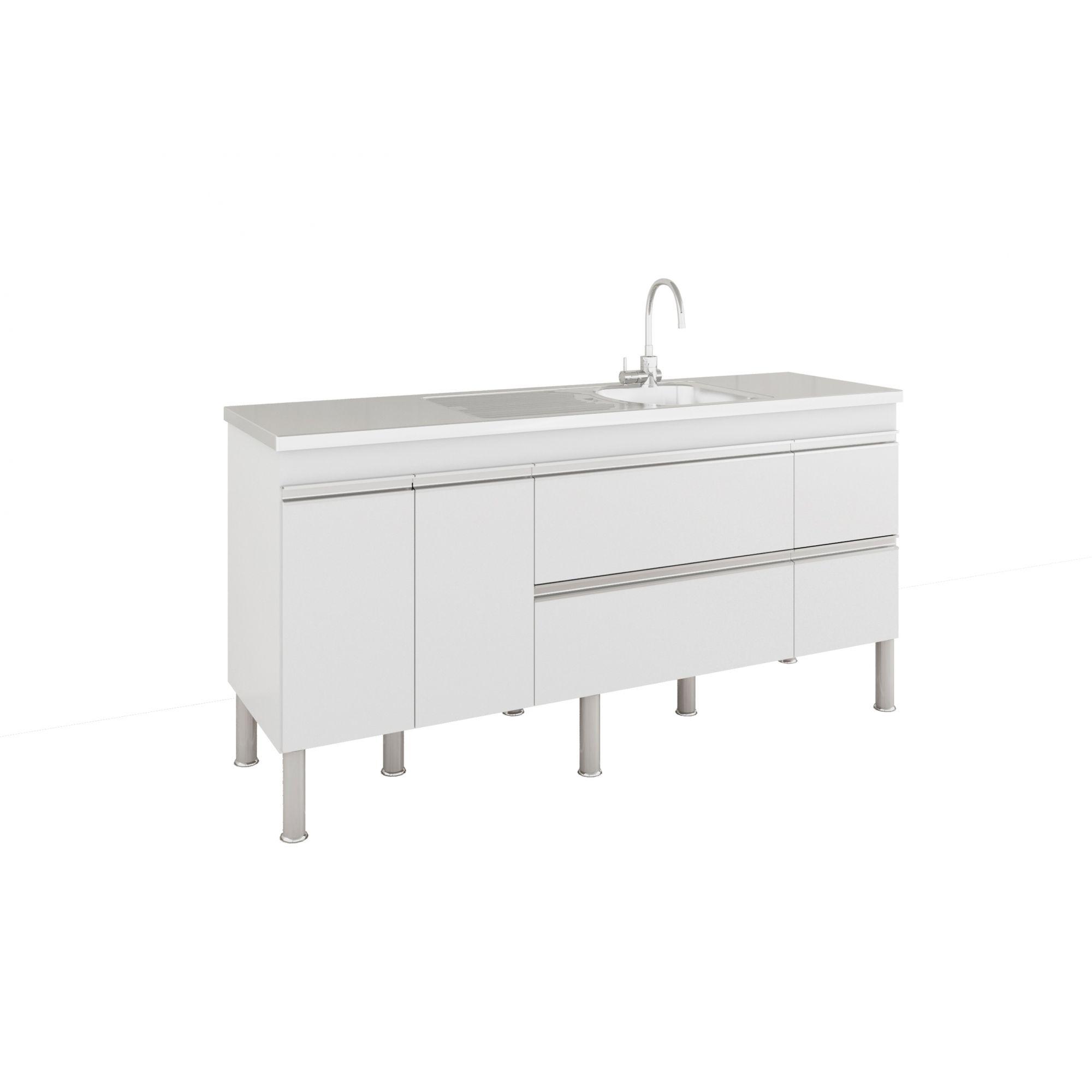 Armário De Cozinha Balcão Prisma PX Perfil 1,74 m MGM Móveis Branco