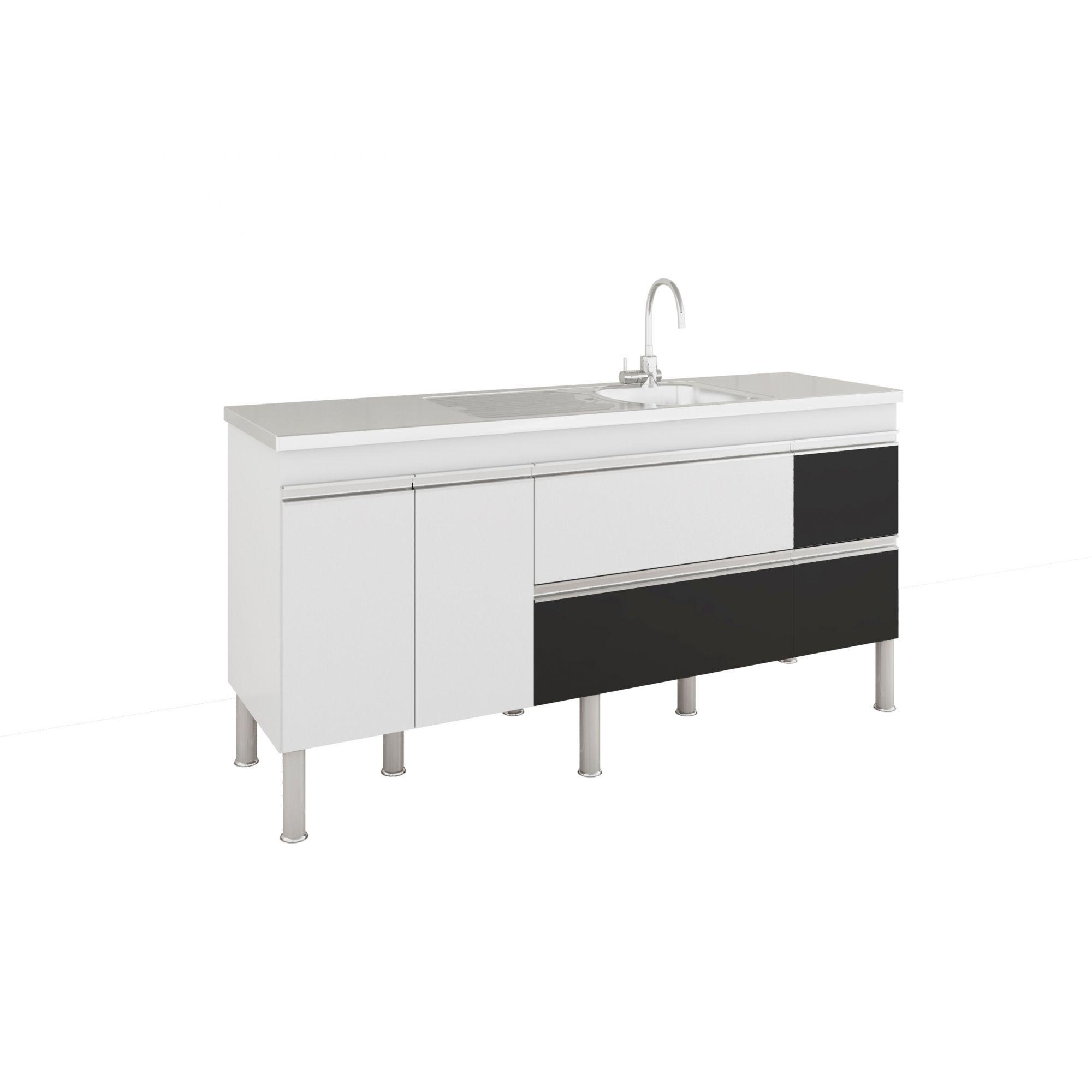 Armário De Cozinha Balcão Prisma PX Perfil 1,74 m MGM Móveis Branco/Preto