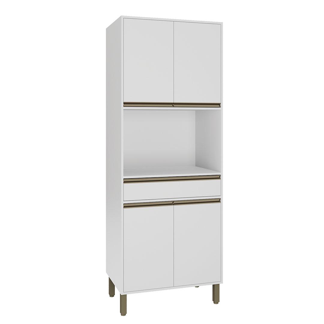 Armário de Cozinha Torre Quente 80 cm 4 Portas 1 Gaveta Vitória Rimo Branco