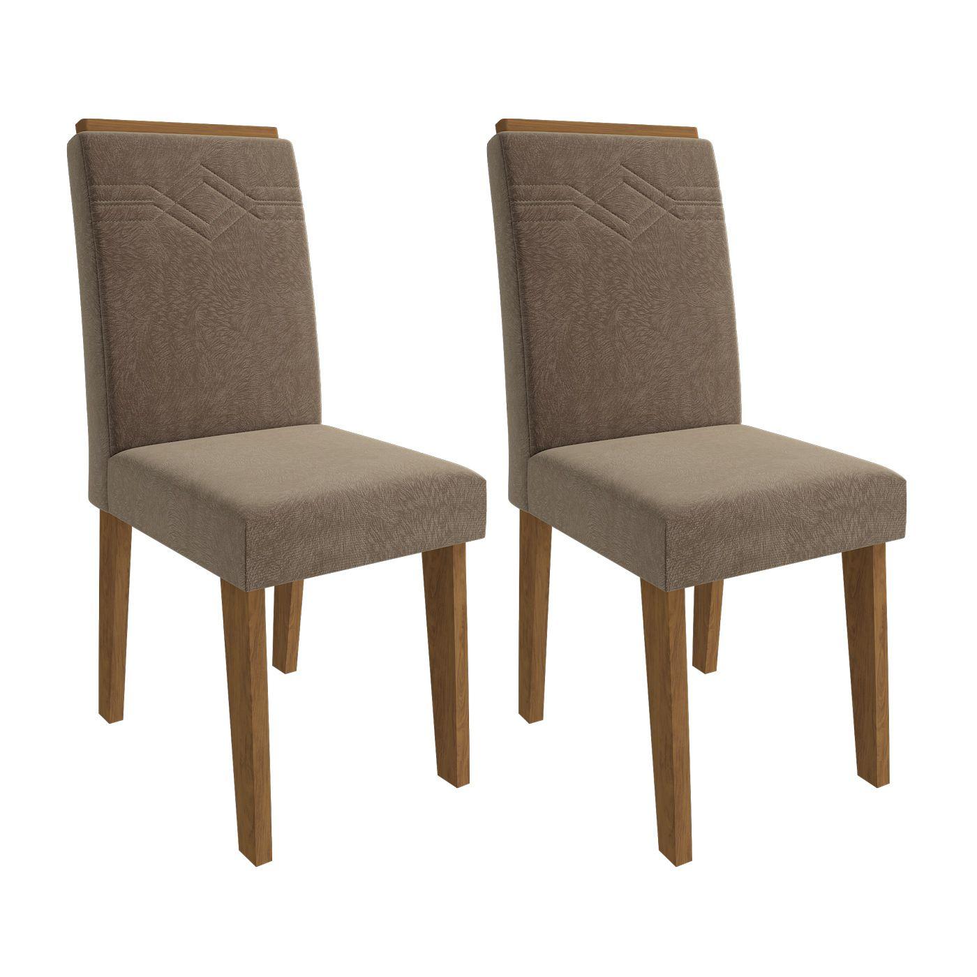 Cadeira de MDF para Sala de Jantar Tais com Moldura 2 pçs Cimol Savana/Pluma