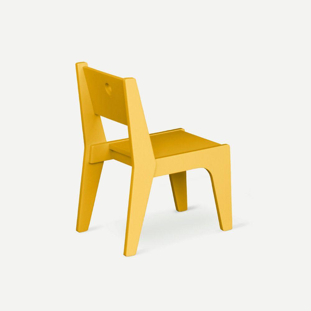 Cadeira Infantil Design Amarela em Laca Modelo Arco Caixotin - 02peças