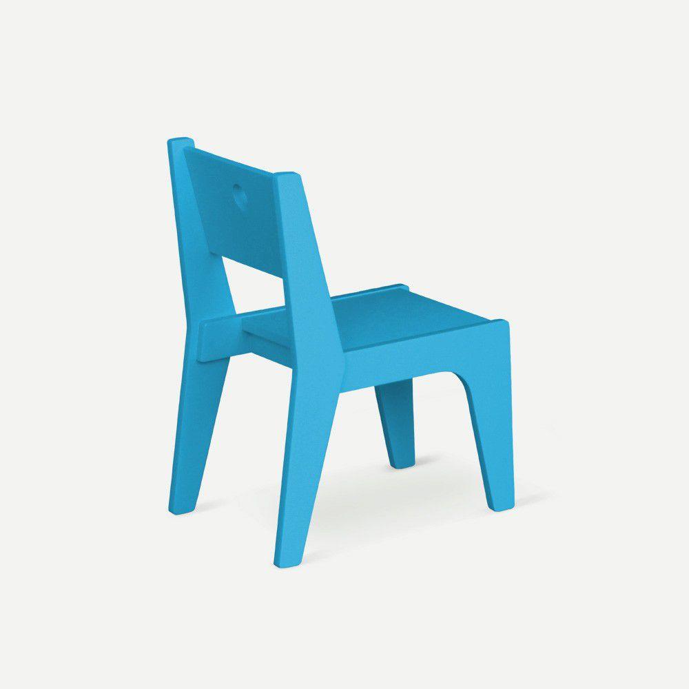 Cadeira Infantil Design Azul Claro em Laca Modelo Arco Caixotin - 02peças