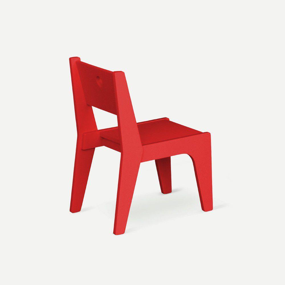 Cadeira Infantil Design Vermelha em Laca Modelo Arco Caixotin - 02peças