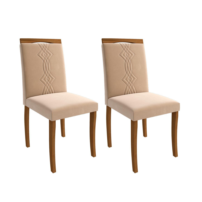 Cadeiras de Madeira para Sala de Jantar 02 Pçs Laura Cimol Madeira/Nude