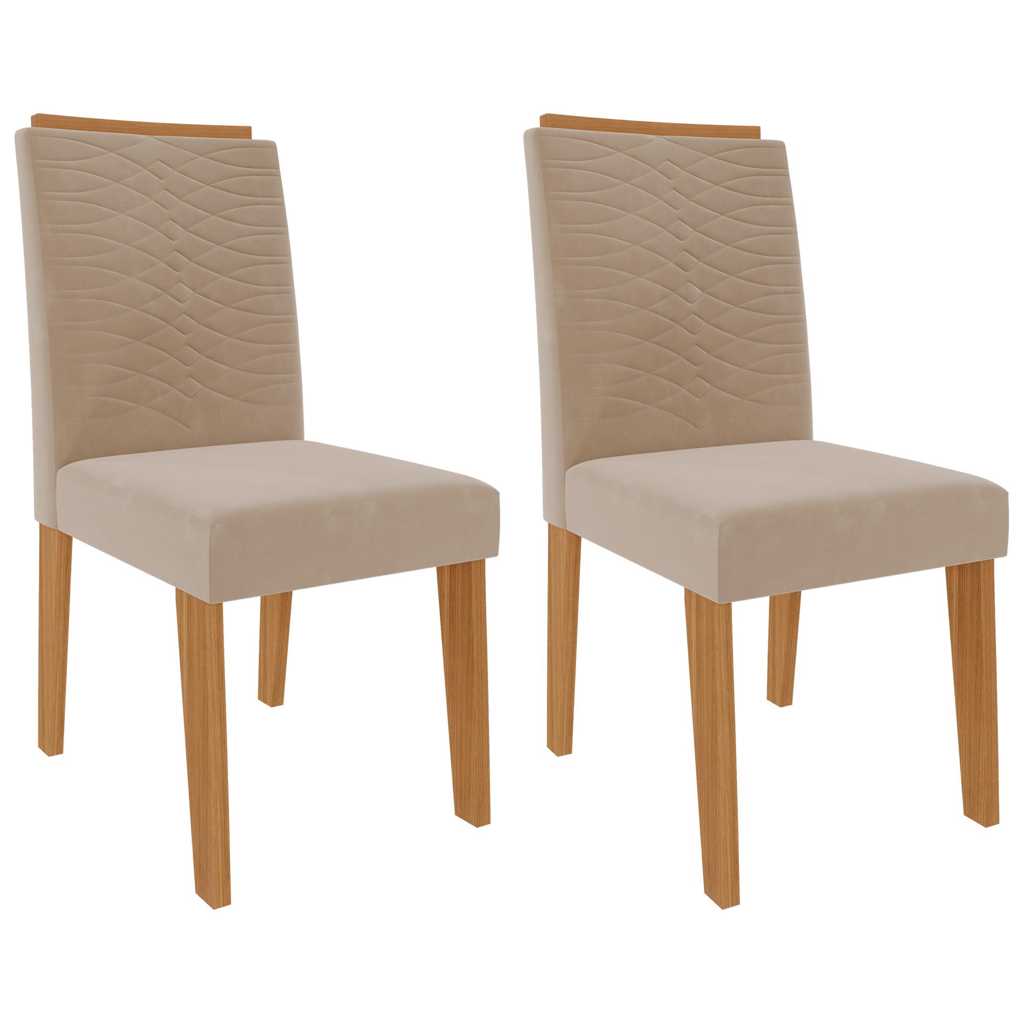 Cadeiras de MDF Para Sala de Jantar 02 Pçs Clarice  Cimol Nature/Nude