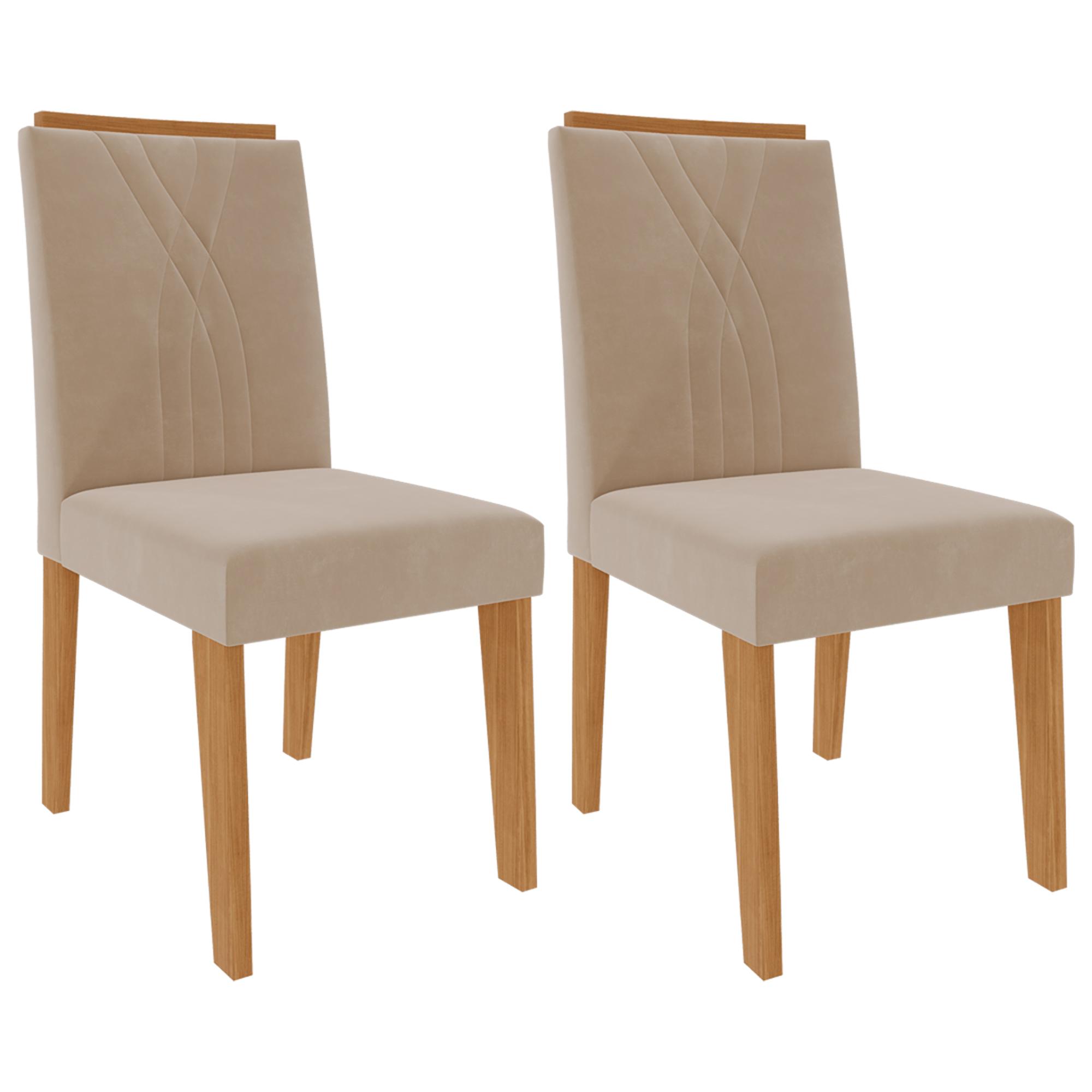 Cadeiras de MDF Para Sala de Jantar 02 Pçs Nicole  Cimol Nature/Nude
