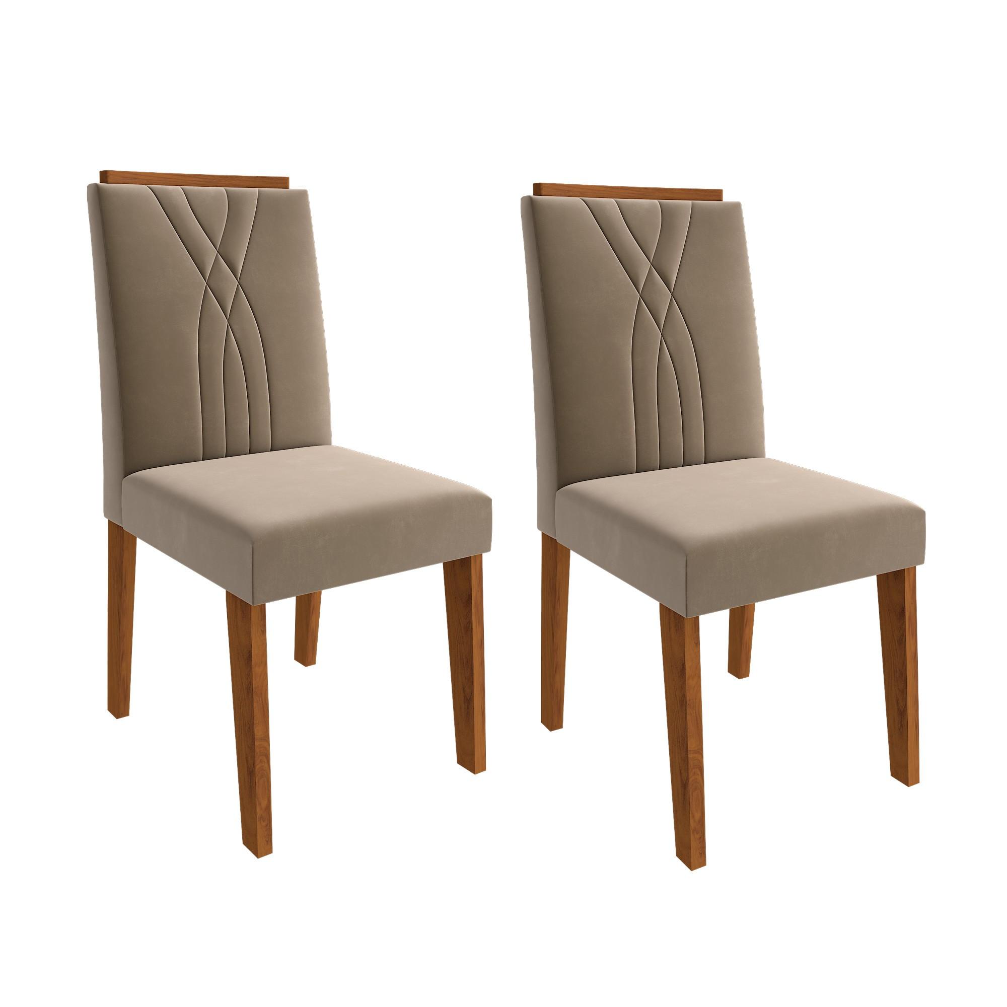 Cadeiras de MDF para Sala de Jantar 02 Pçs Nicole Cimol Savana/New Claro 03 FORA DE LINHA
