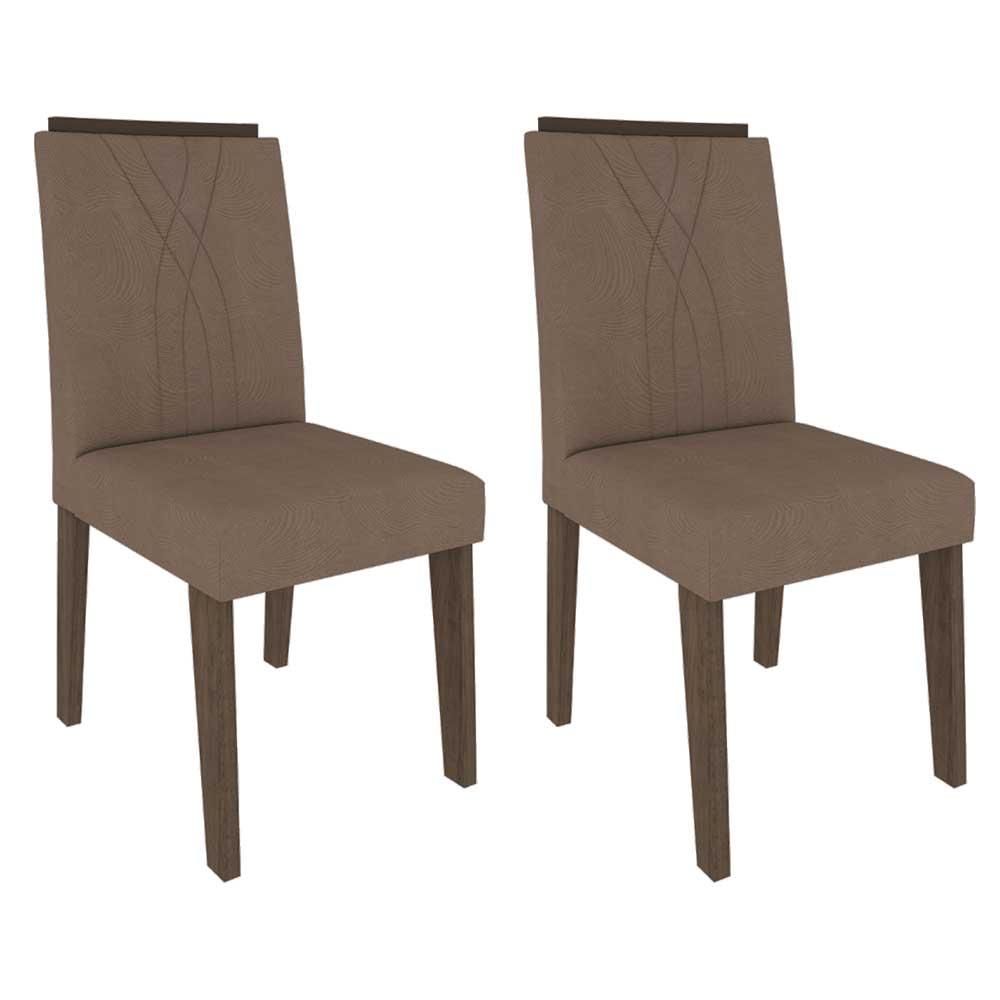 Cadeiras De MDF Para Sala De Jantar 02 Pçs Nicole Cimol Marrocos / Suede Pluma