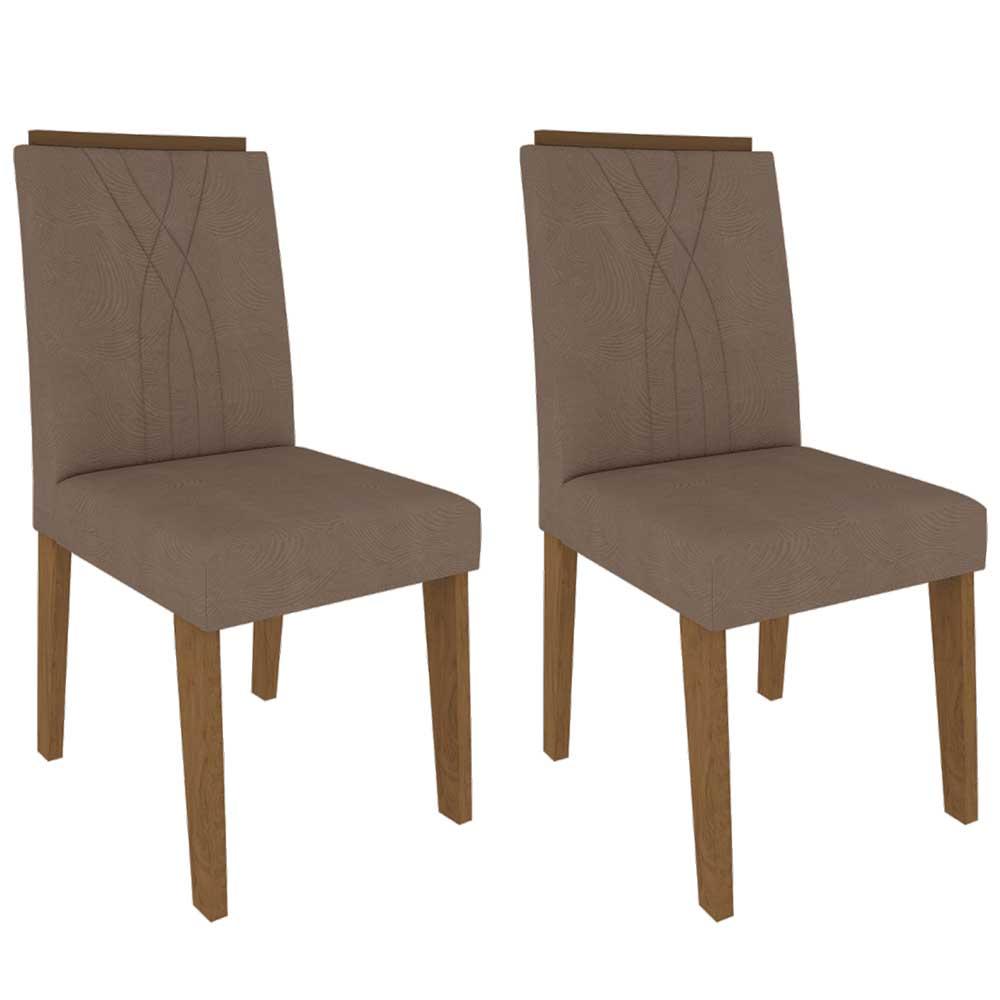 Cadeiras De MDF Para Sala De Jantar 02 Pçs Nicole Cimol Savana / Suede Pluma