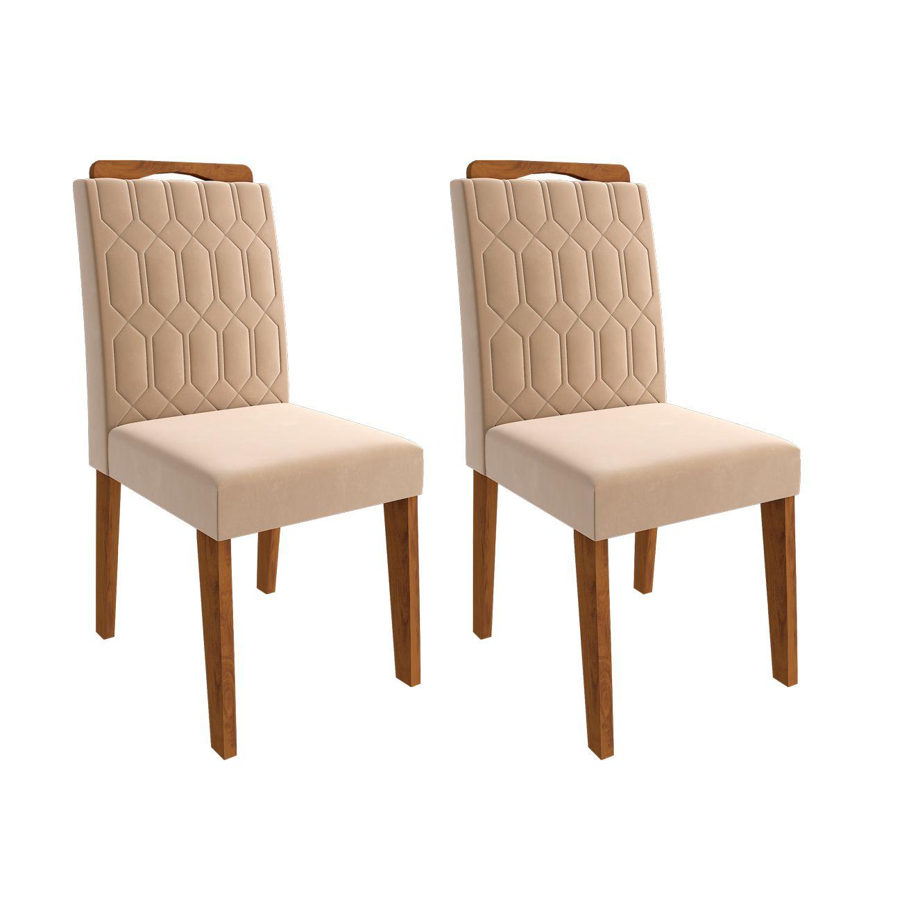 Conjunto 2 Cadeiras para Sala de Jantar 100% MDF Paola Cimol Savana/Nude