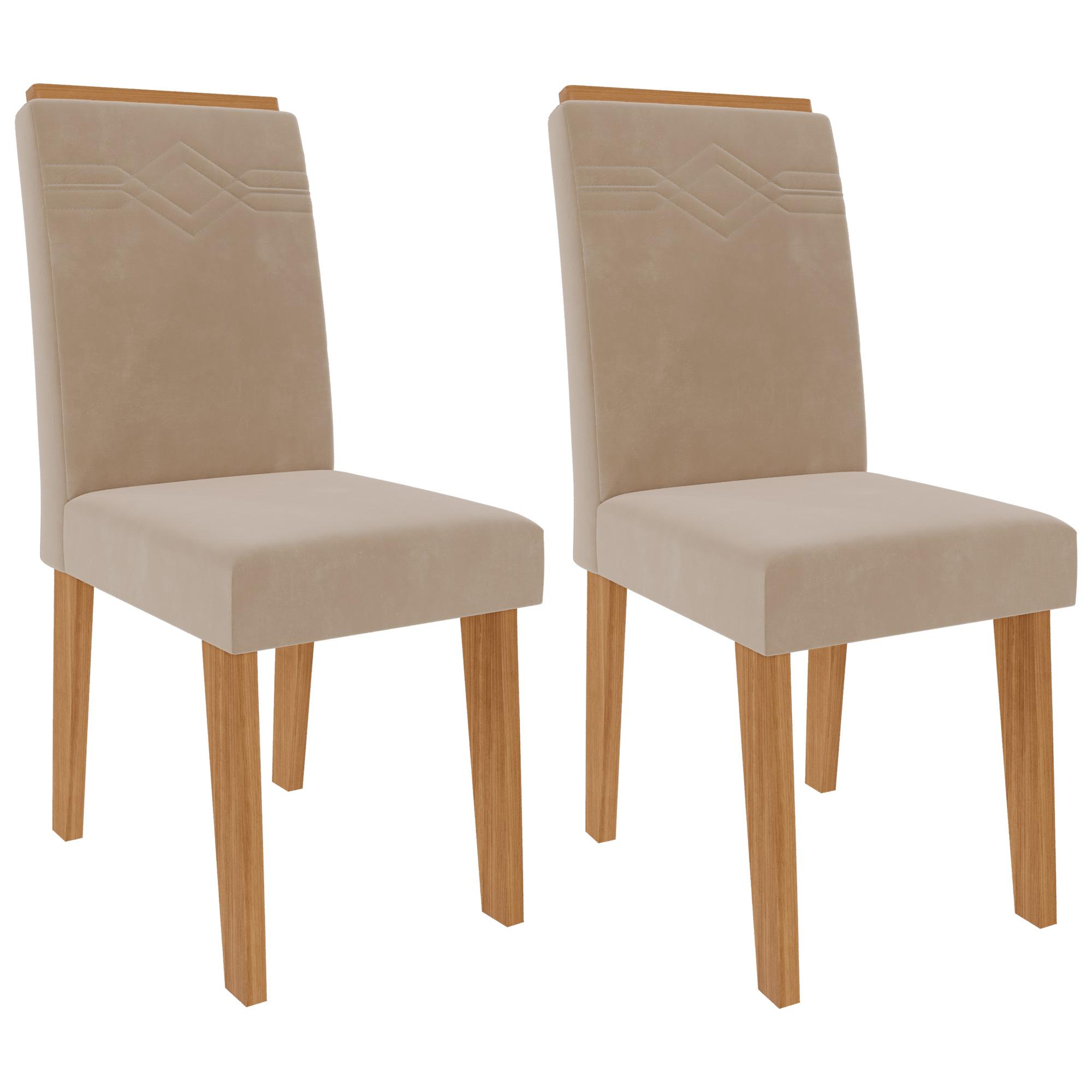 Cadeiras de MDF Para Sala de Jantar 02 Pçs Tais C/ Moldura  Cimol Nature/Nude
