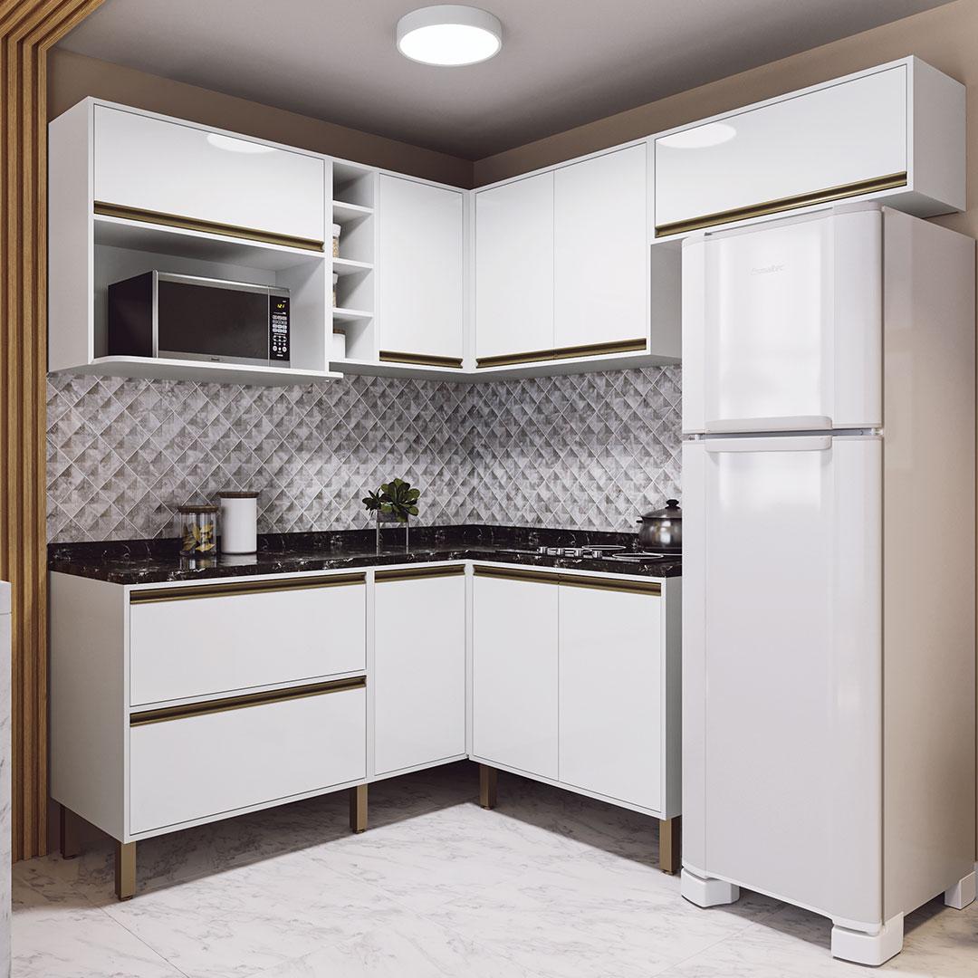 Cozinha Modulada Canto Vitória 8 Peças Rimo Branco