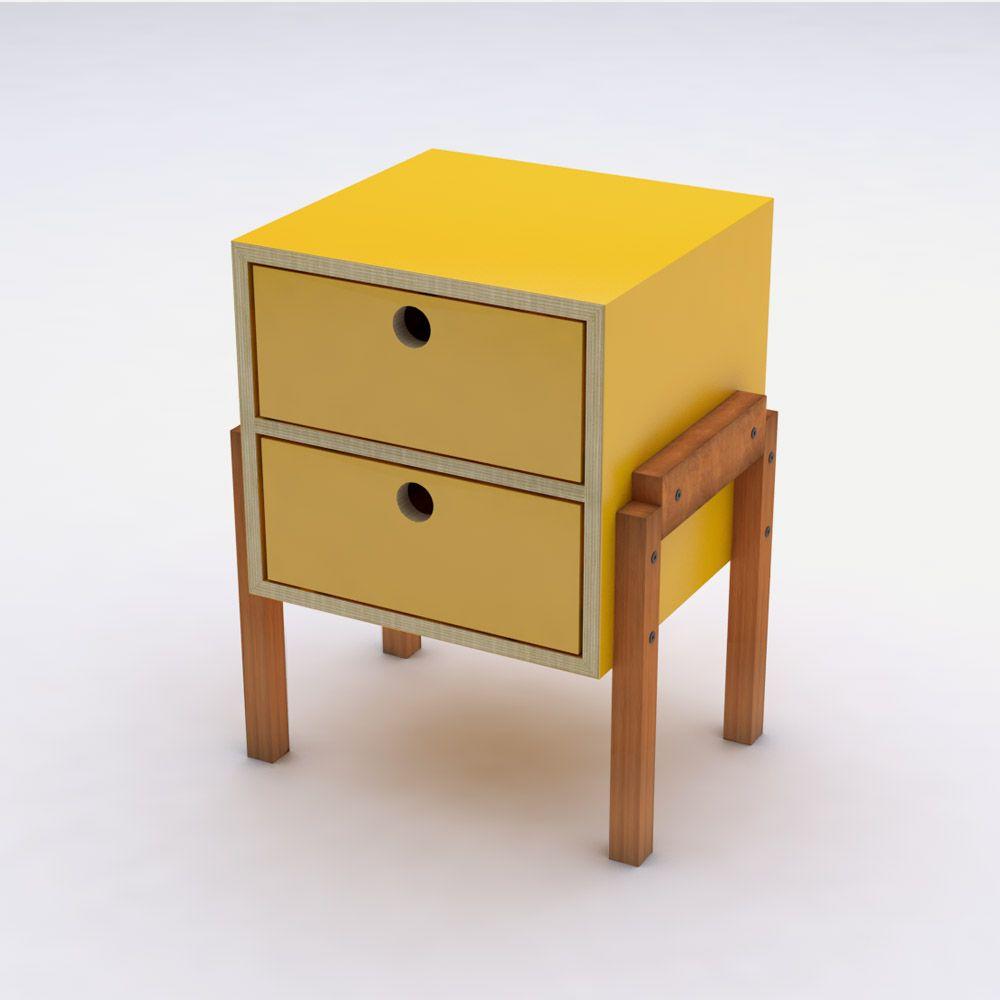 Mesa de Cabeceira Amarelo em Laca 2 Gavetas Design Assinado Cumbuca Caixotin