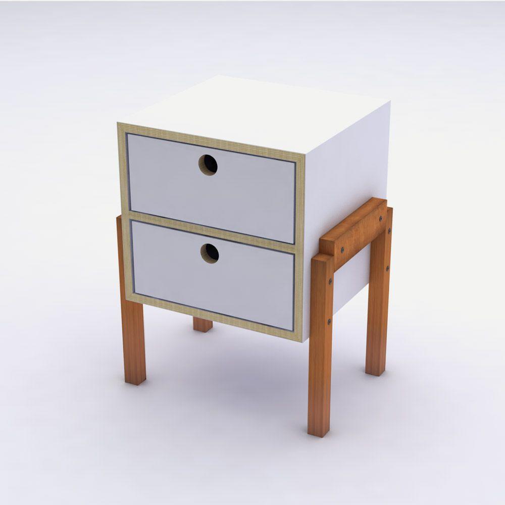 Mesa de Cabeceira Branco em Laca 2 Gavetas Design Assinado Cumbuca Caixotin
