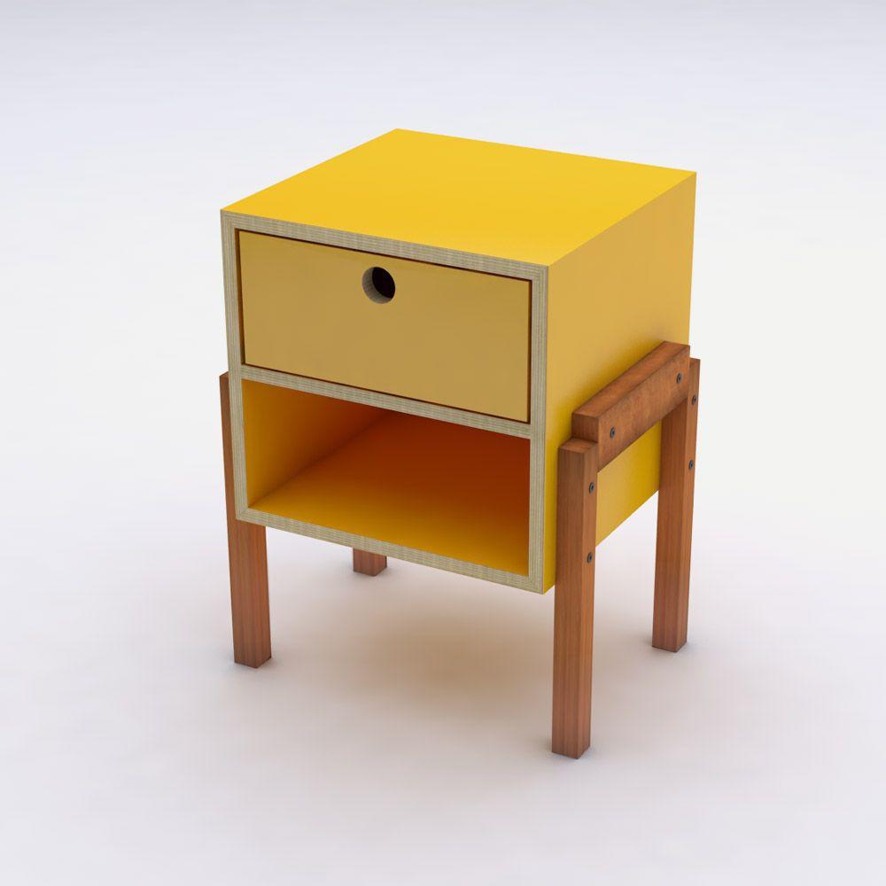 Mesa de Cabeceira Amarelo em Laca com 1 Gaveta Design Assinado Cumbuca Caixotin