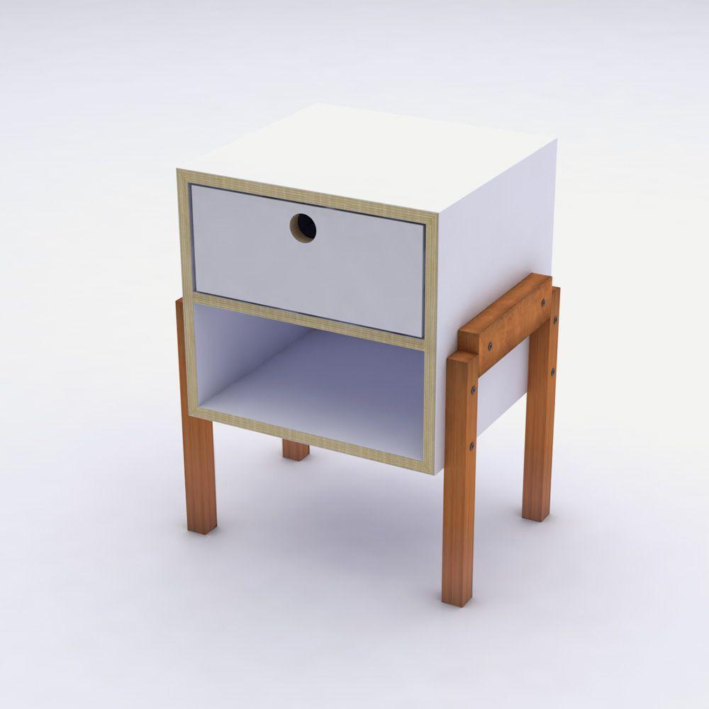 Mesa de Cabeceira Branco com 1 Gaveta em Laca Design Assinado Cumbuca Caixotin