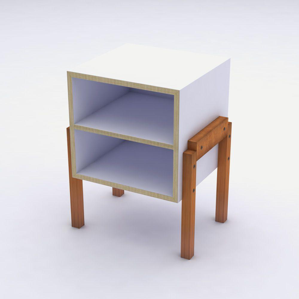Mesa de Cabeceira Branco com Prateleira em Laca Design Assinado Cumbuca Caixotin