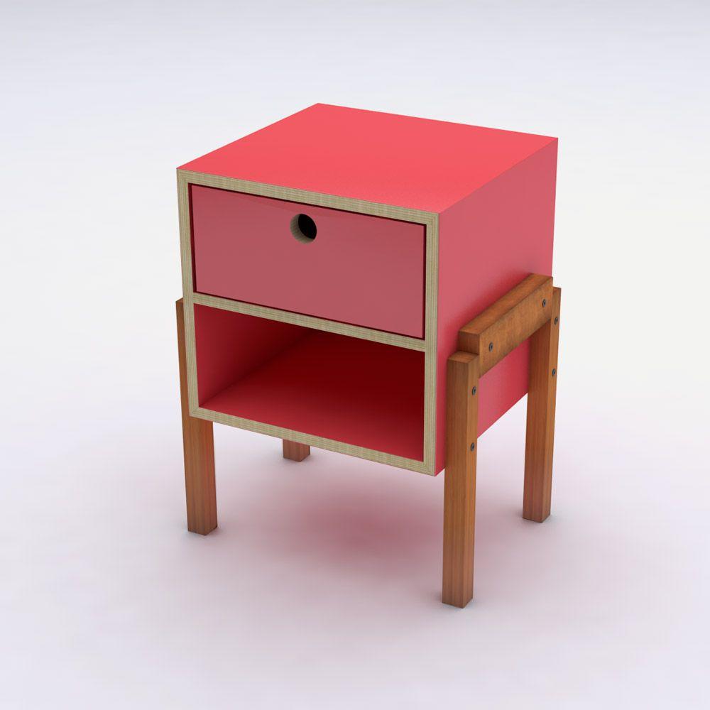 Mesa de Cabeceira Vermelho em Laca com 1 Gaveta Design Assinado Cumbuca Caixotin