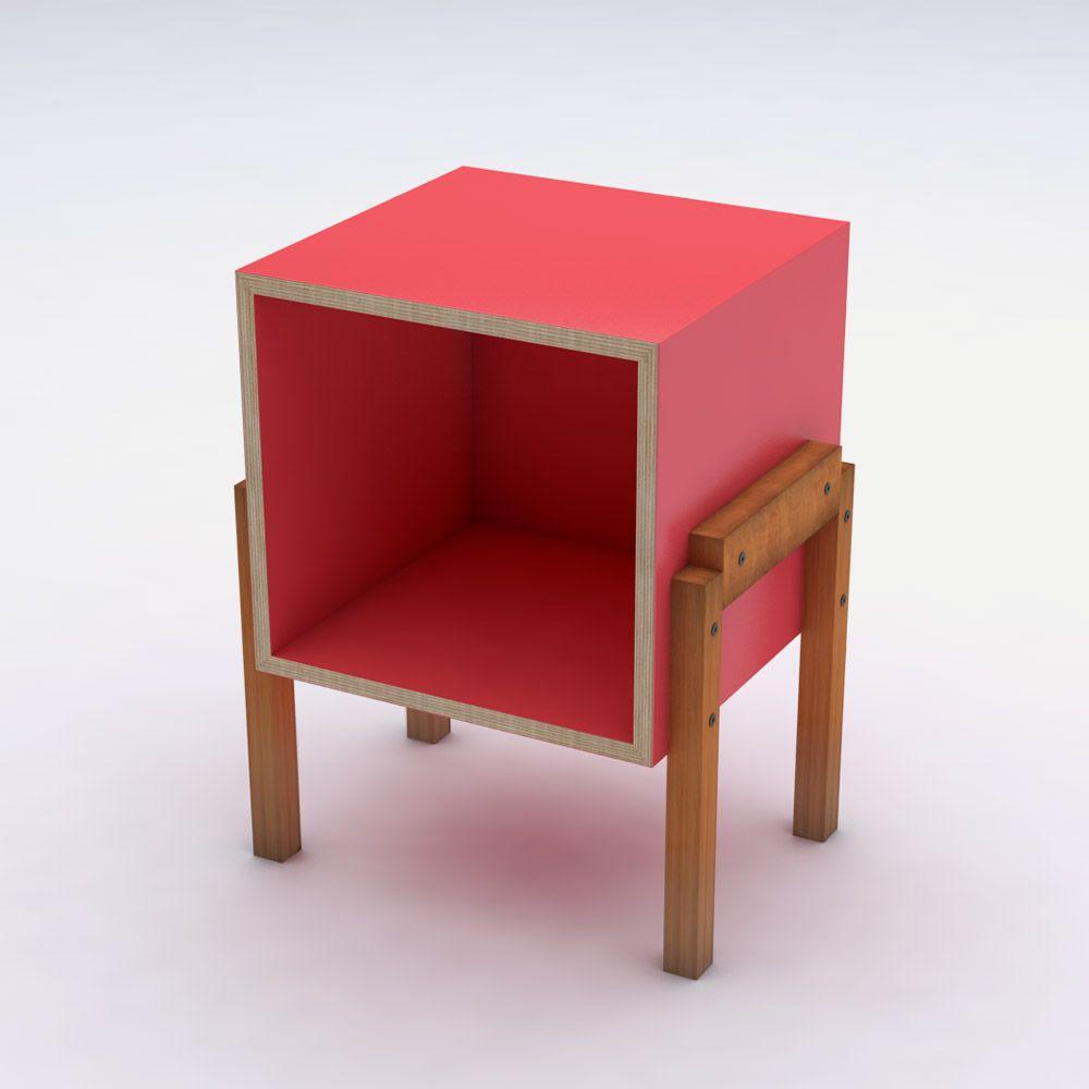Mesa de Cabeceira Nicho Vermelho em Laca Design Assinado Cumbuca Caixotin