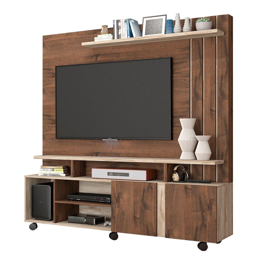 Estante Home Valência com 2 Portas e Painel para TV até 47 Polegadas Permóbili Café/Rústico