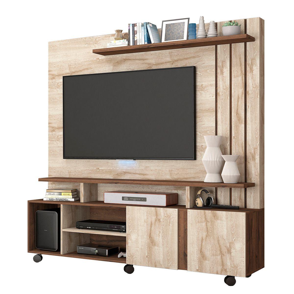 Estante Home Valência com 2 Portas e Painel para TV até 47 Polegadas Permóbili Rústico/Café