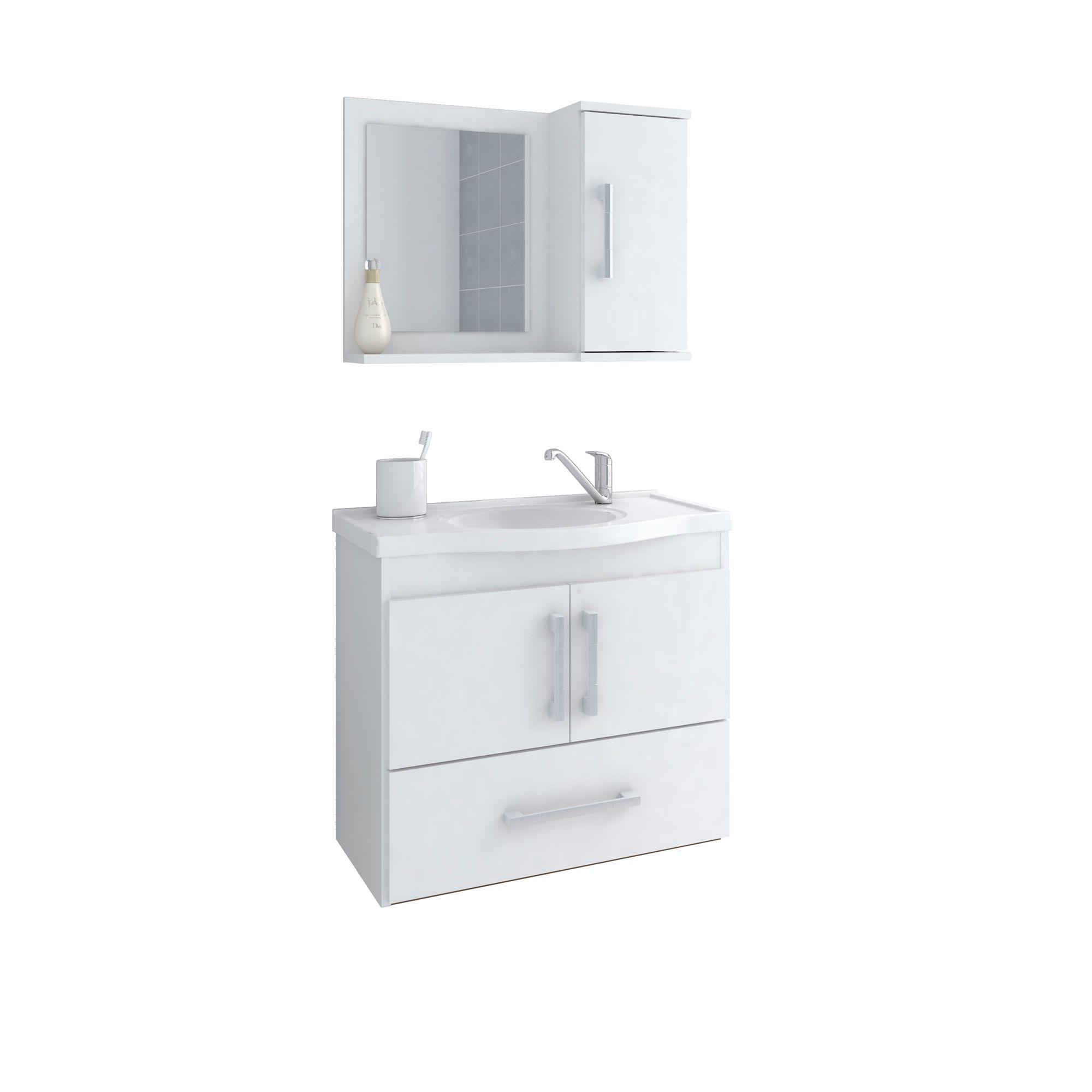 Gabinete Para Banheiro Atenas 65 Cm Com  Espelho De Banheiro MGM Branco