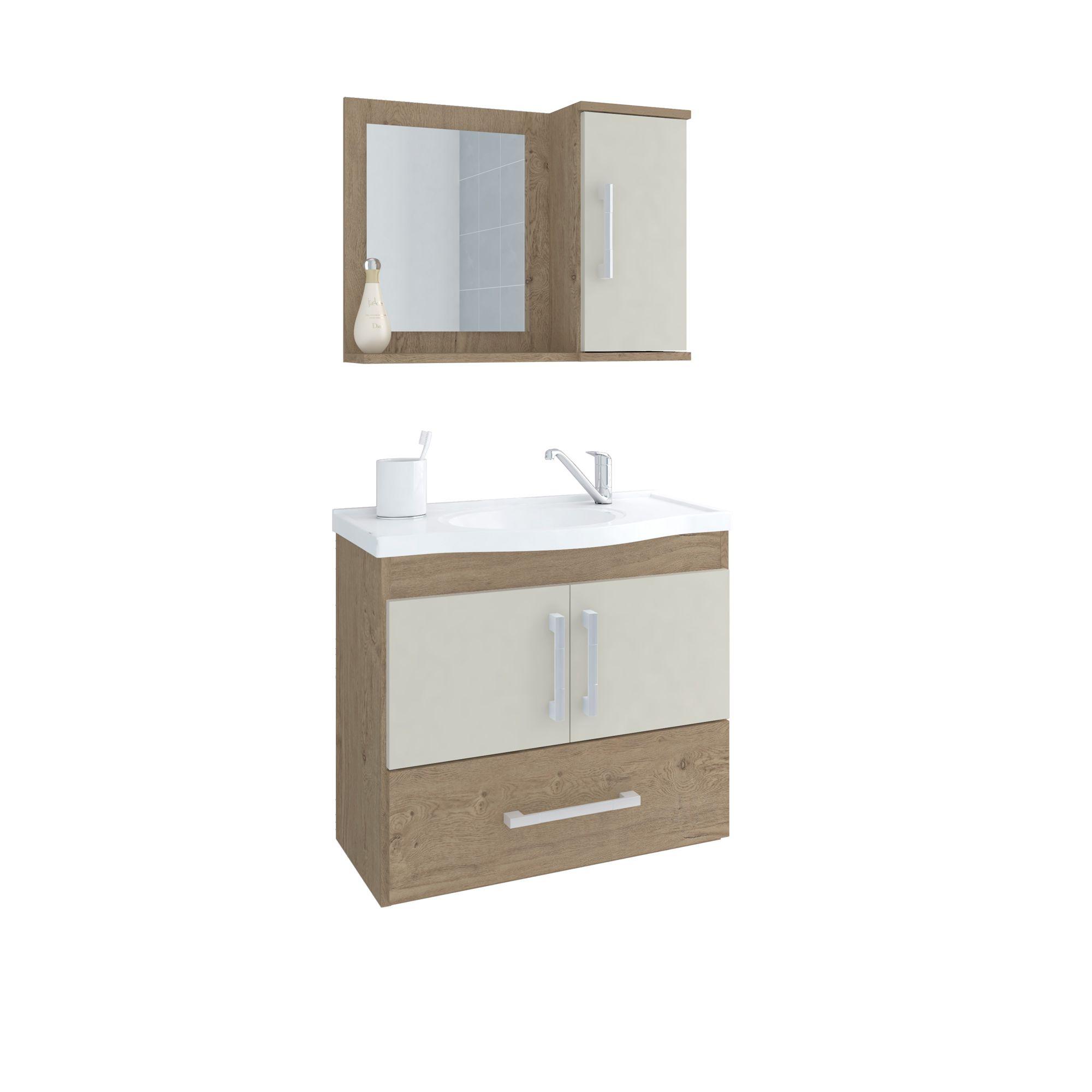 Gabinete Para Banheiro Atenas 65 Cm Com  Espelho De Banheiro MGM Carvalho/Off White