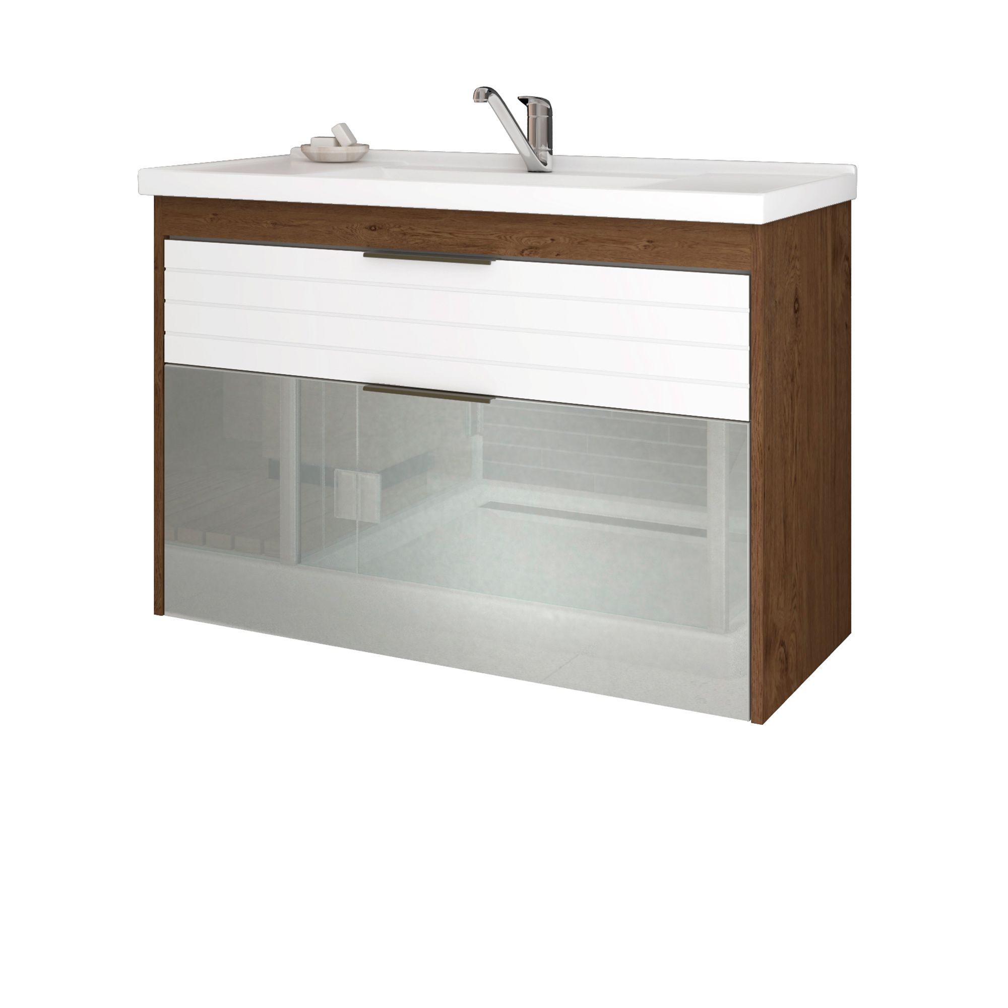 Gabinete Para Banheiro Azaléia 79 Cm Porta Vidro MGM Amendoa/Branco