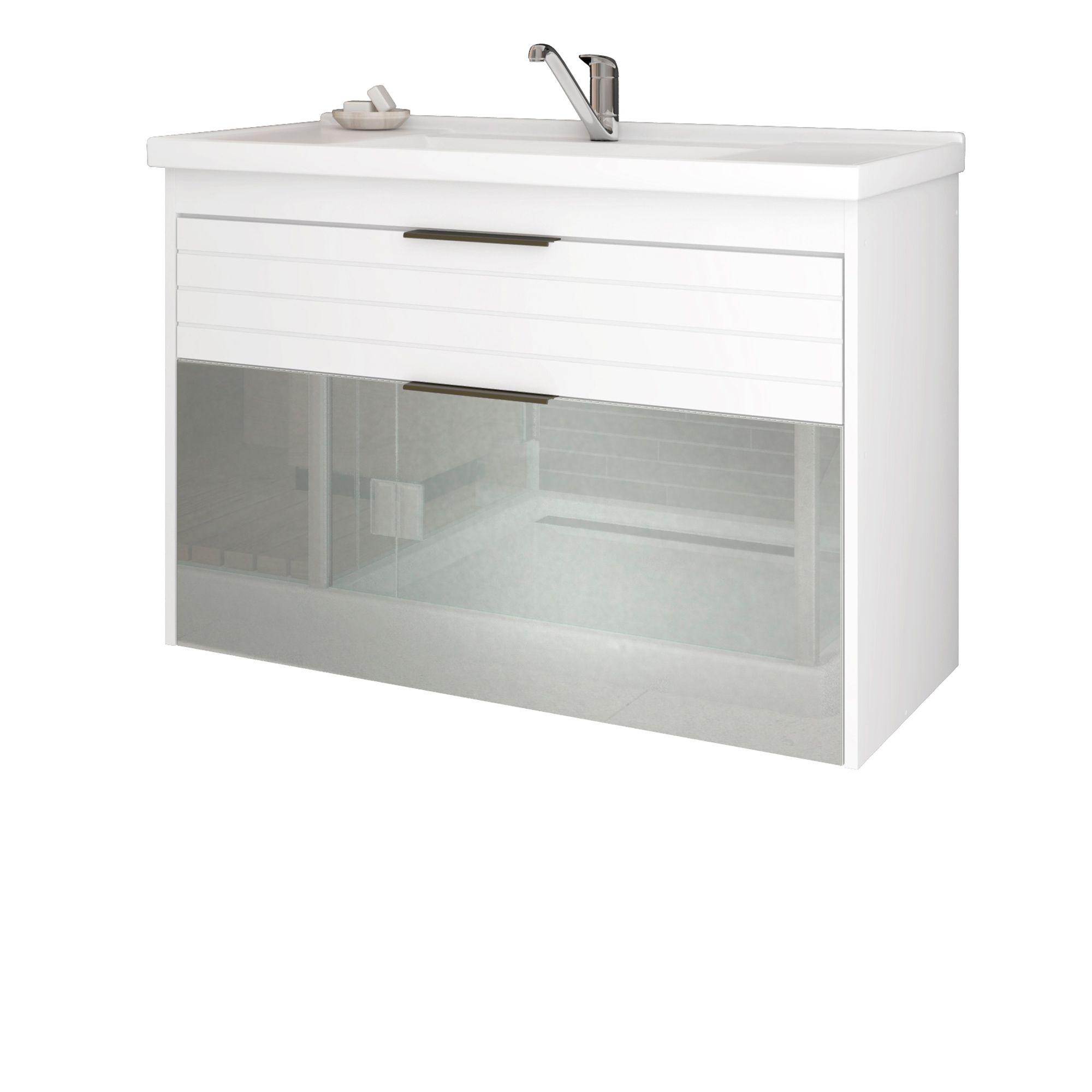 Gabinete Para Banheiro Azaléia 79 Cm Porta Vidro MGM Branco