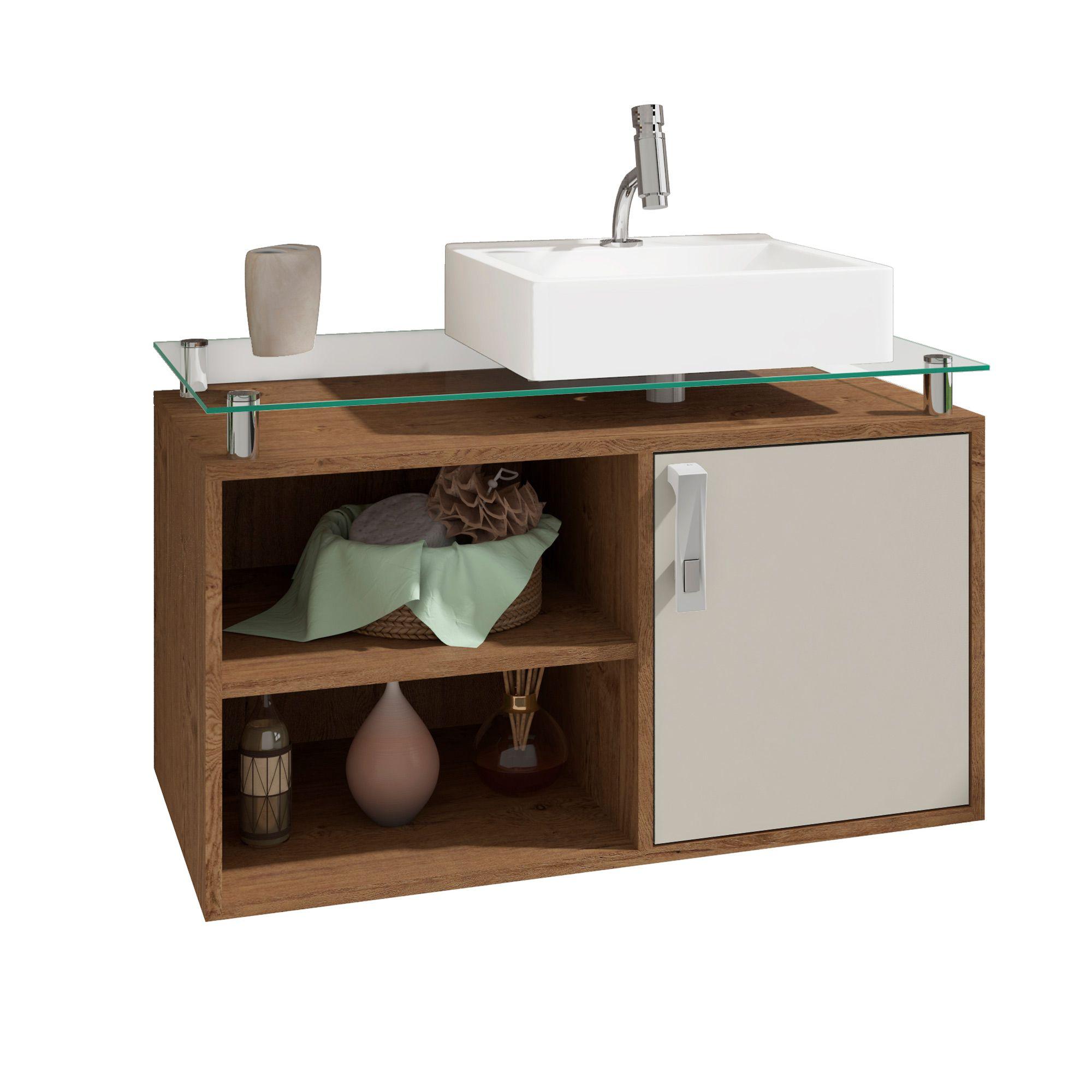 Gabinete Para Banheiro Braga 80 Cm Sobrepor MGM Amendoa/Off White