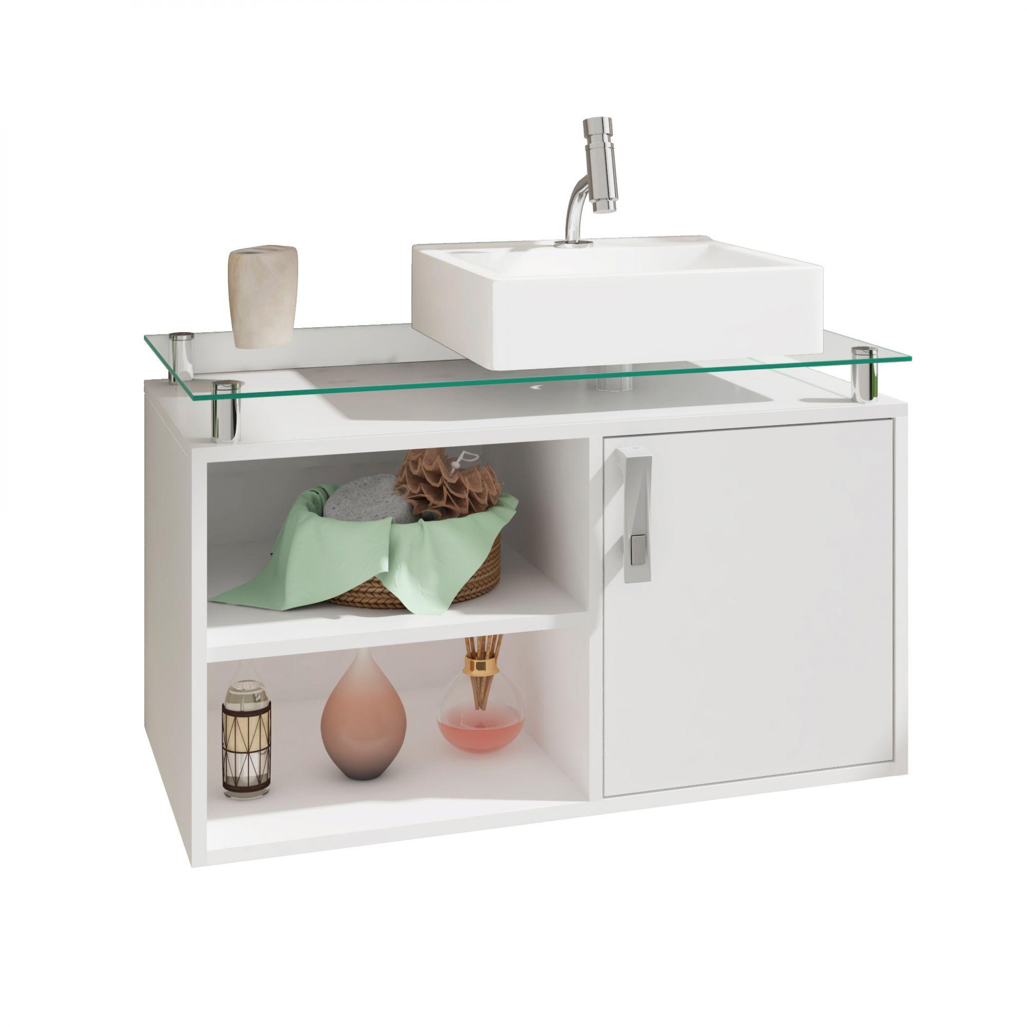 Gabinete Para Banheiro Braga 80 Cm Sobrepor MGM Branco